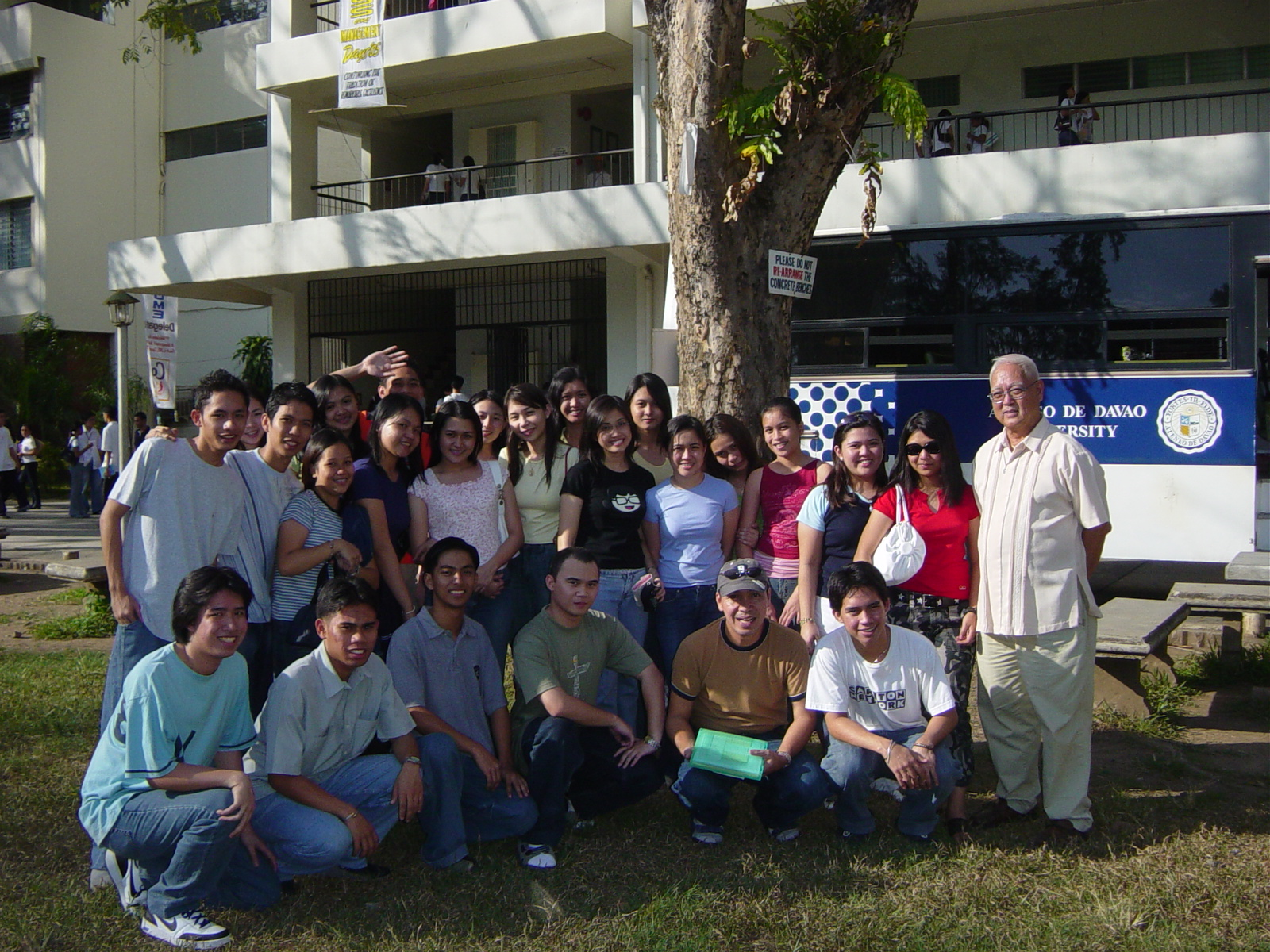 Cathy with her classmates, delegates and Prof. Godofredo Eding from Ateneo de Davao University together with Fr. Antonio Samson, SJ (then University President of X.U.) at Xavier University Cagayan de Oro City during the 2005 MBMYC (Mindanao Business and Management Youth Congress) | 2005